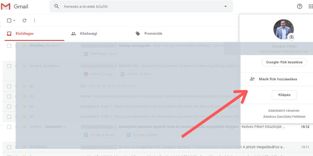 Gmail tippek: bejelentkezés másik fiókkal