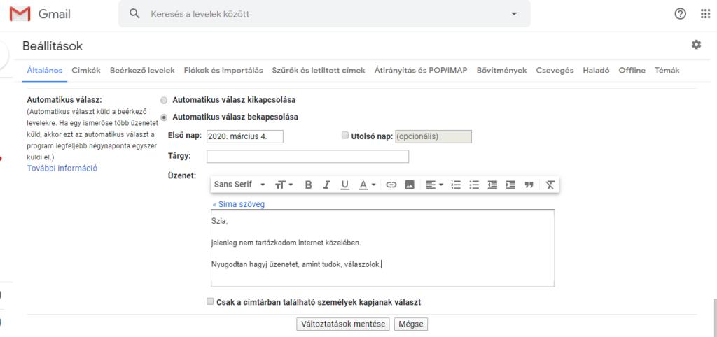 Gmail automatikus válaszok