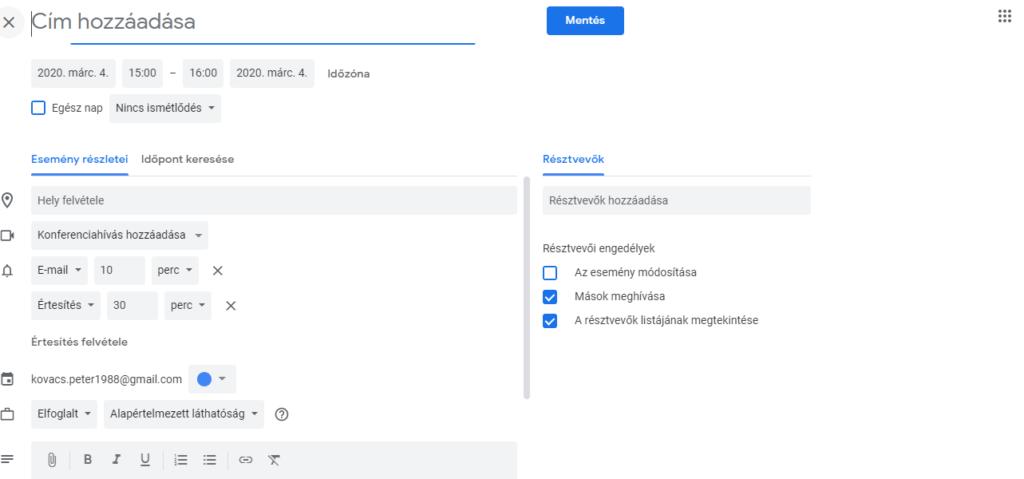 Google naptár