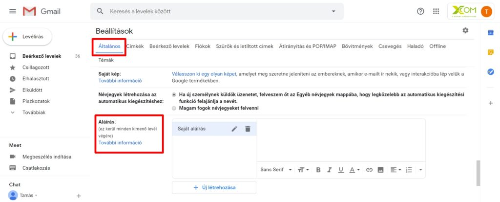 Gmail aláírás beállítása