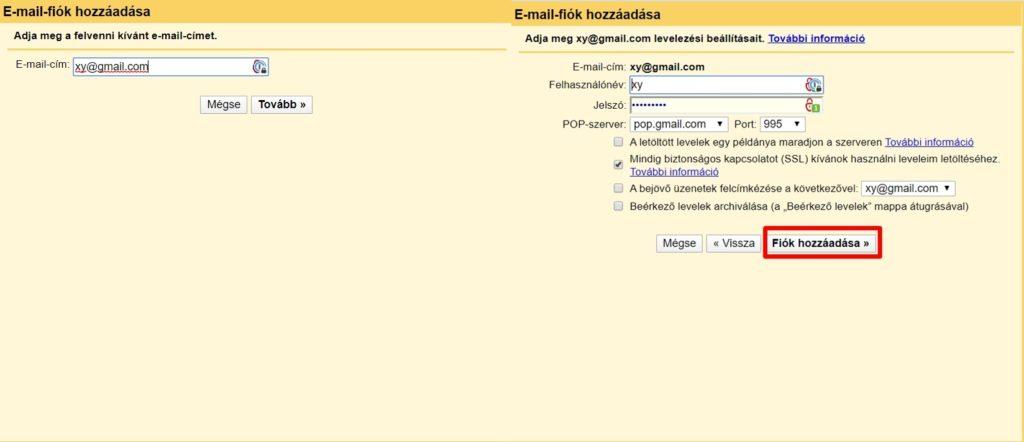 E-mail fiók hozáadása