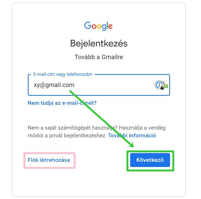 Gmail fiók hozzáadásának menete