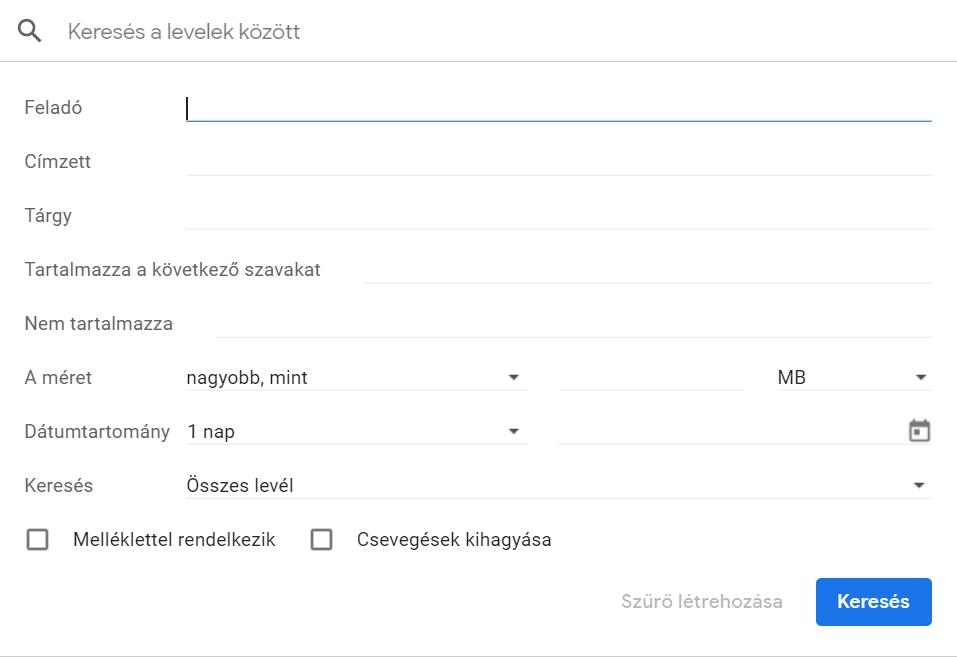 Gmail szűrők, keresés a levelek között