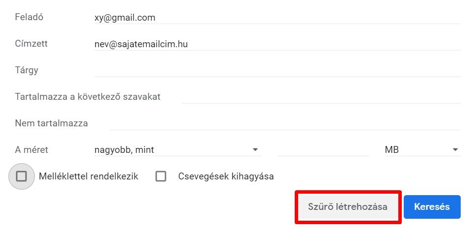 Gmail szűrő