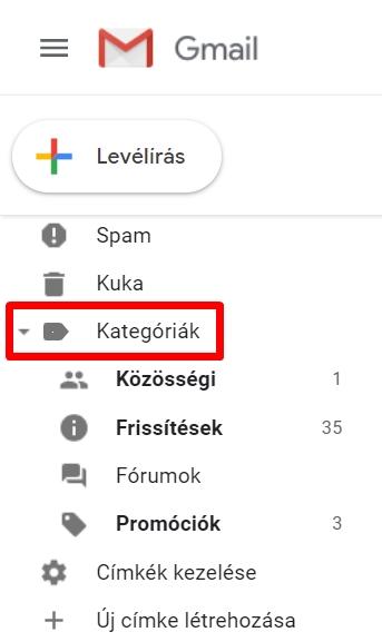 Gmail kategóriák