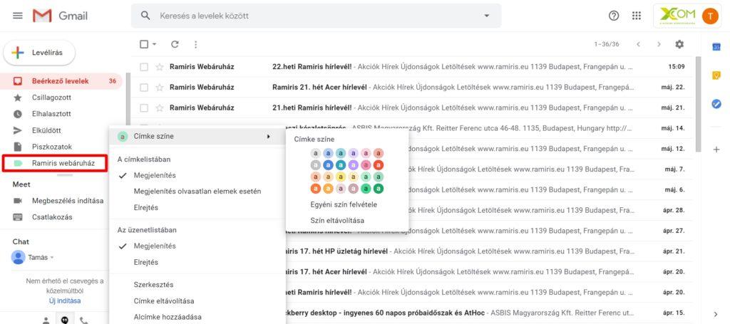 Gmail címke testreszabása