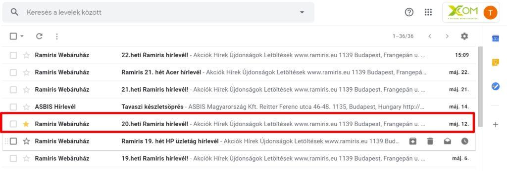 Gmail csillagozás