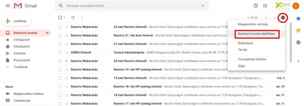 Gmail beérkező levelek beállítása