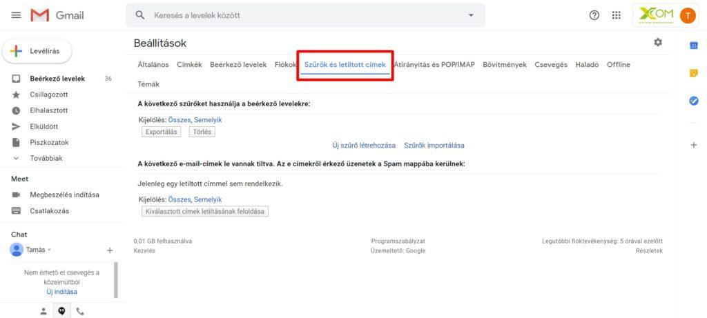 Gmail szűrők és letiltott elemek
