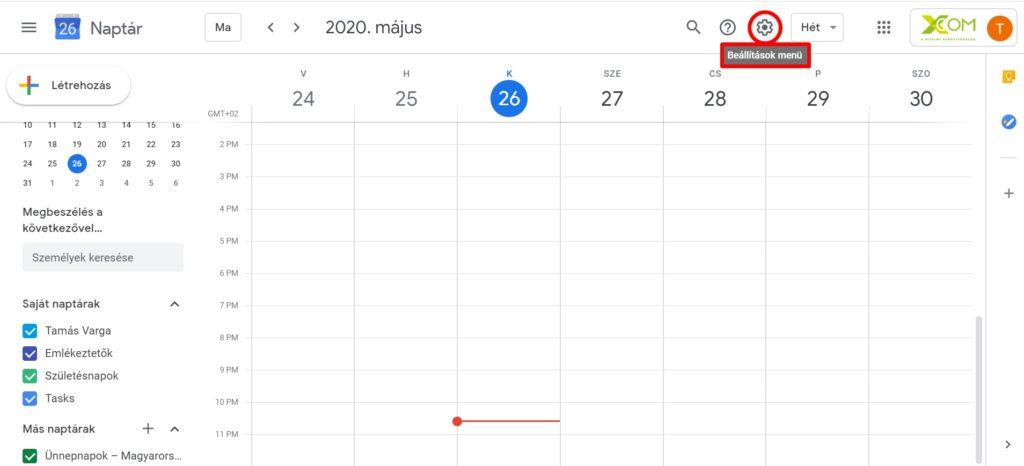 Google naptár testreszabása