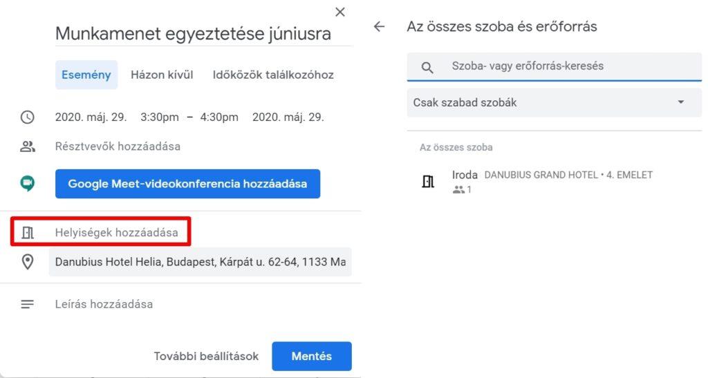 Google naptár helységek kiválasztása