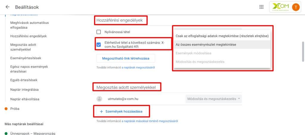 Google naptár jogosultságok beállítása