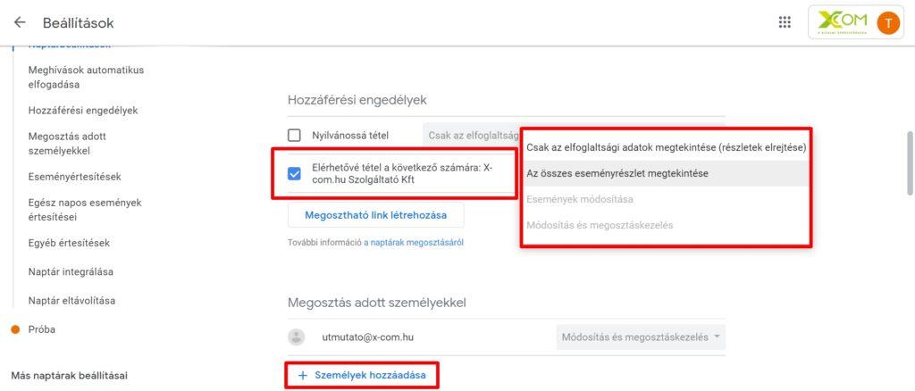 Google naptár jogosultság