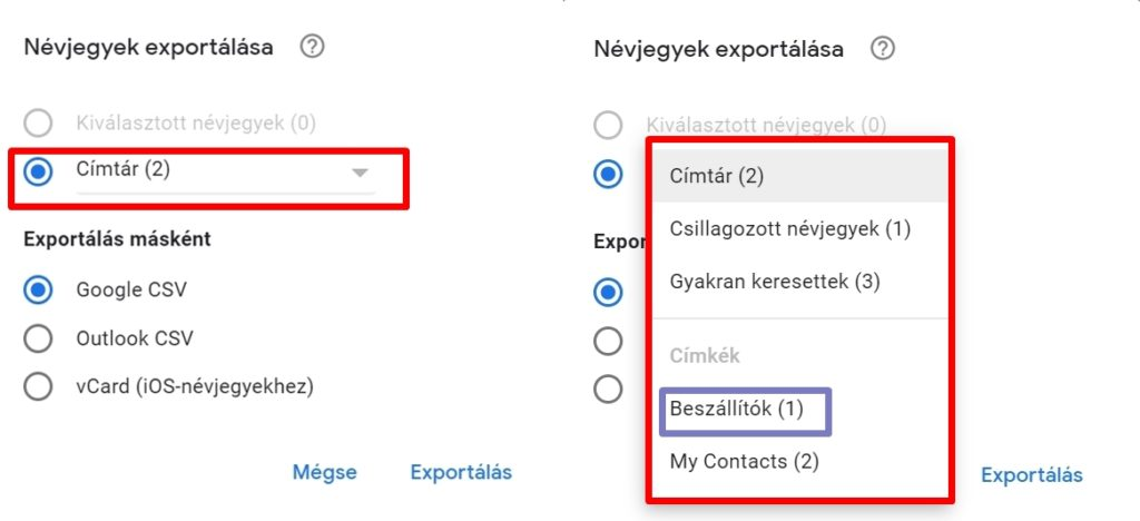 Névjegyek exportálása