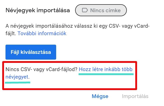 Nem CSV fájl importálása