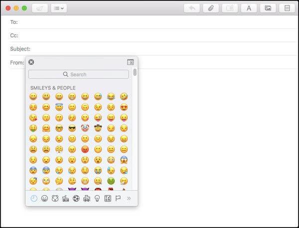 Emoji eszköztár MAC-en