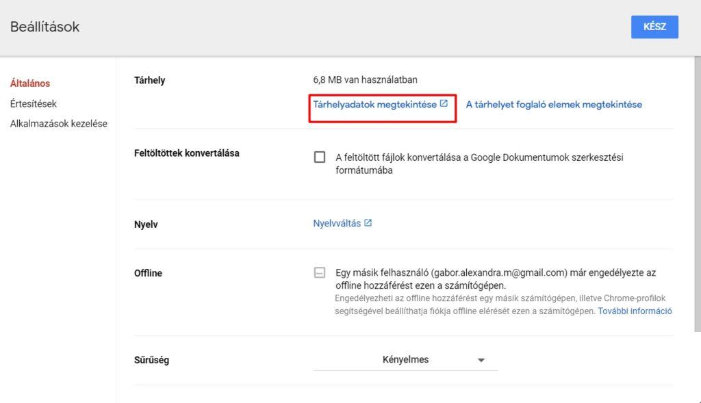 Google Drive tárhelyadatok