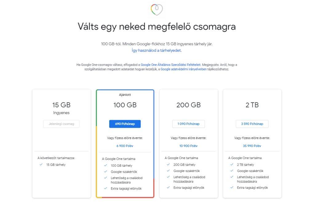 Google One csomagok