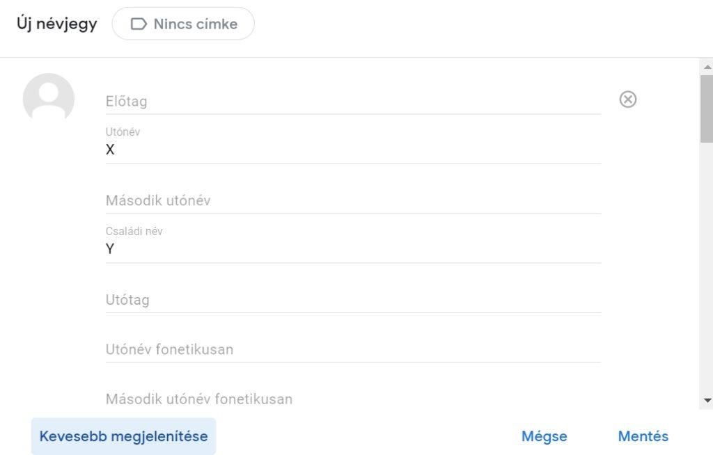 Google címtár névjegy kiegészítése