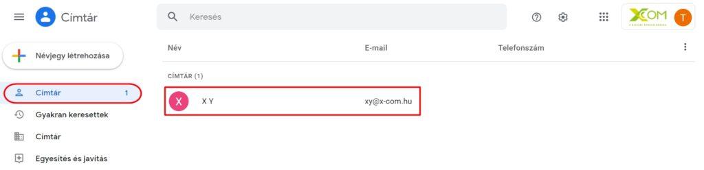 Google címtár névjegy