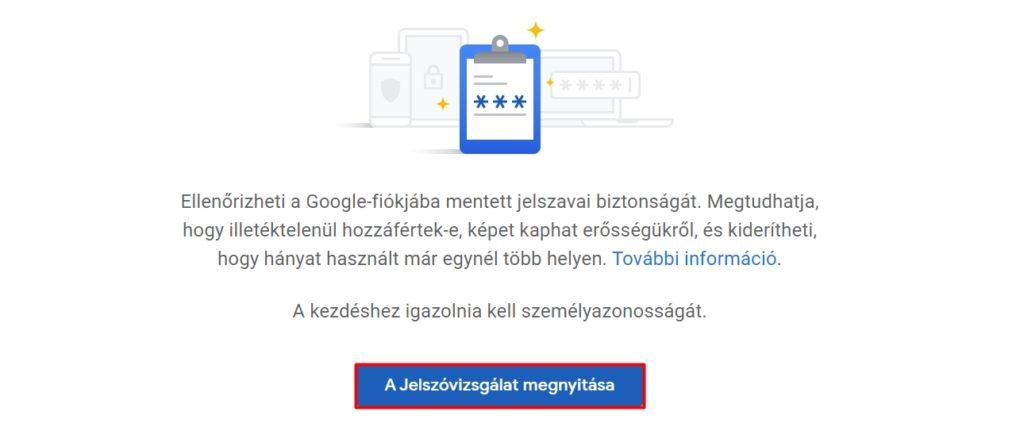 Jelszóvizsgálat a Google-ban