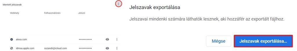Jelszavak exportálása