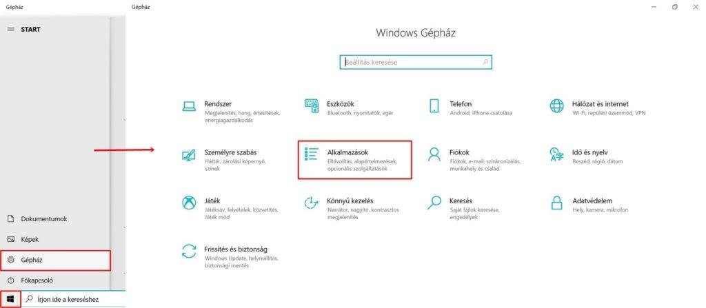 Windows 10 gépház