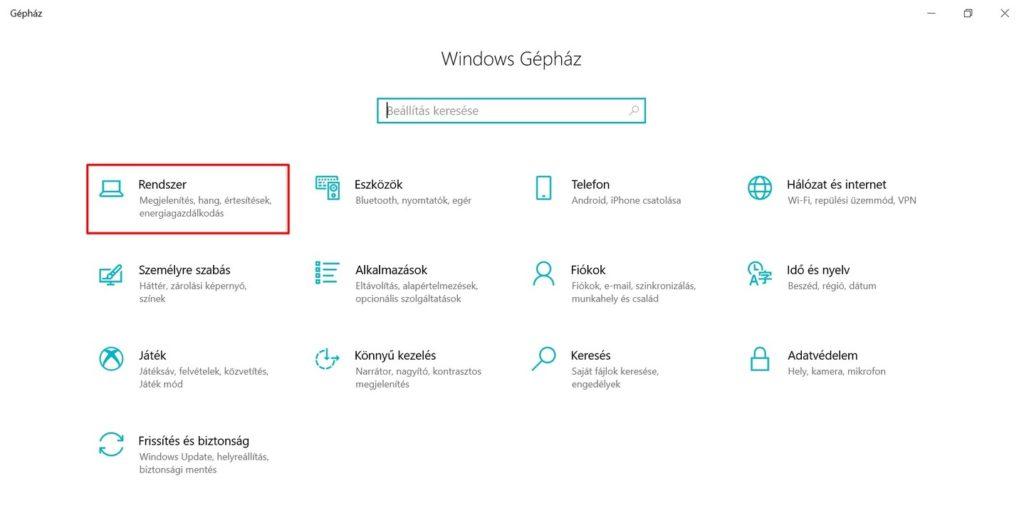 Gépház rendszer menü Windows 10
