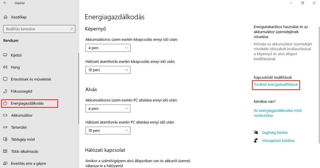 Windows 10 energiabeállítások