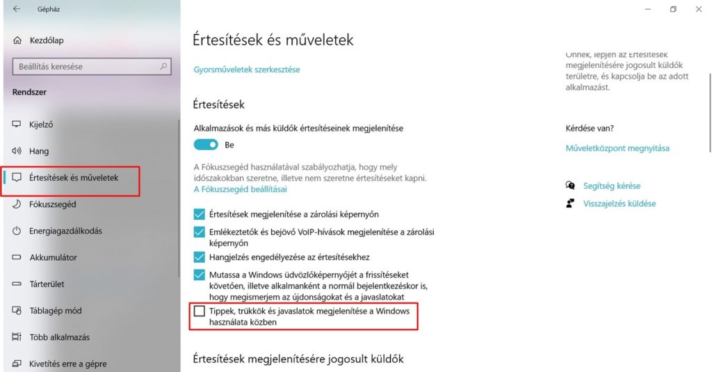 Windows tippek kikapcsolása