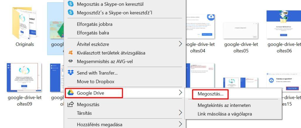Asztali Google Drive megosztás