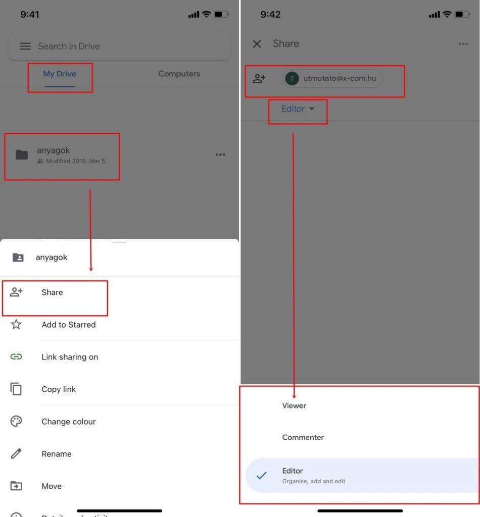 Google Drive megosztás telefonról