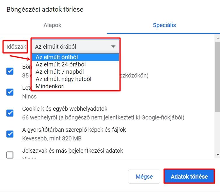 Böngészési adatok törlése a Chrome-ban