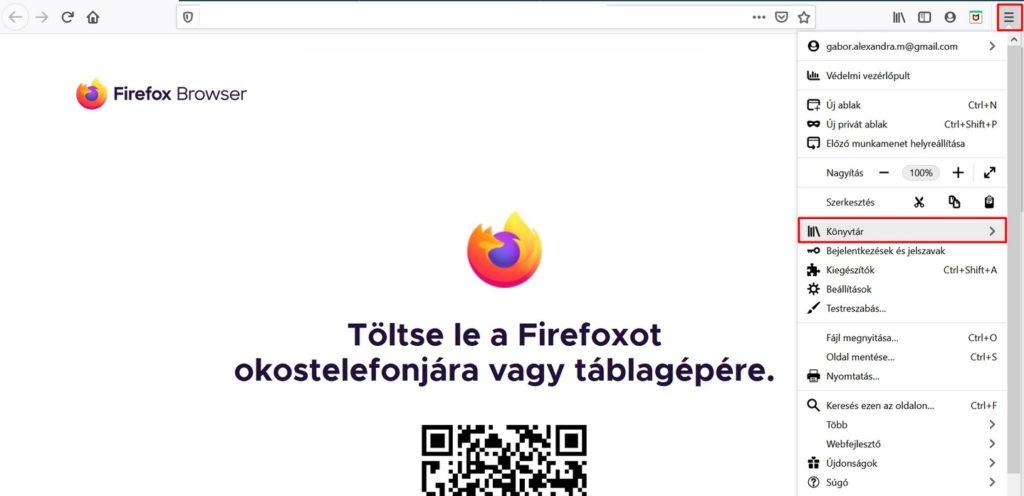Mozzilla Firefox könyvtár
