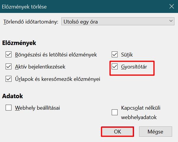 Gyorsítótár törlése a Firefox böngészőben