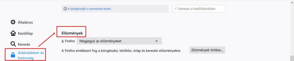 Mozzilla Firefox előzmények