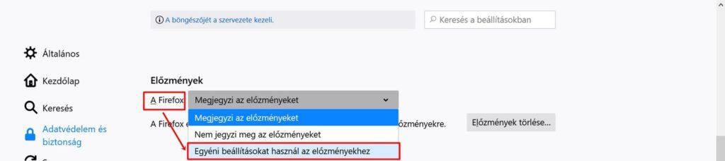 Az előzmények egyéni beállítása  Firefox-ban