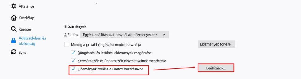 Előzmények törlése a Firefox bezárásakor