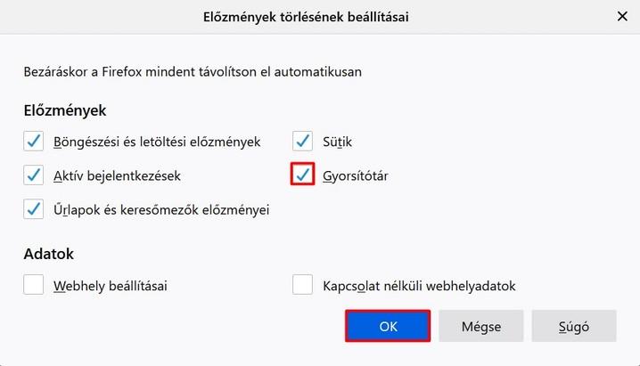 Mozzilla Firefox a gyorsítótár automatikus törlése