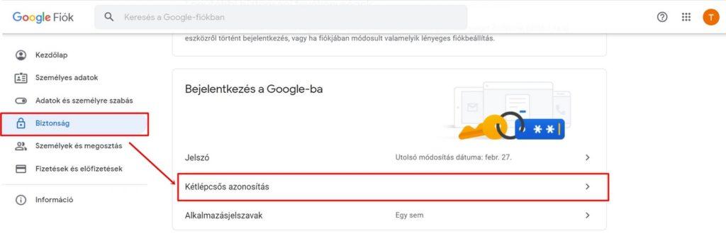 Kétlépcsős azonosítás bekapcsolása a Google-ben