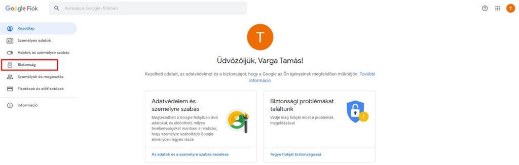Biztonsági beállítások Google fiókunkban