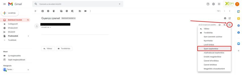 Spam bejelentése Gmail-ben