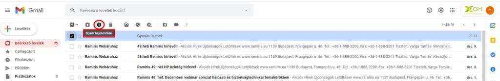 Spam-nek jelölés Gmail-ben