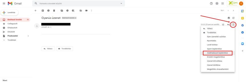 Üzenet megjelölése adathalász levélként a Gmail-ben
