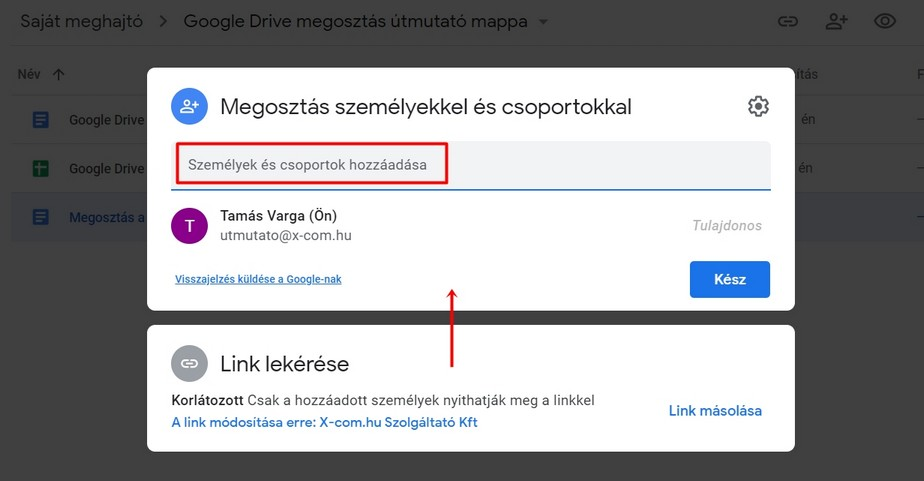 Fájlmegosztás a Google Drive-on