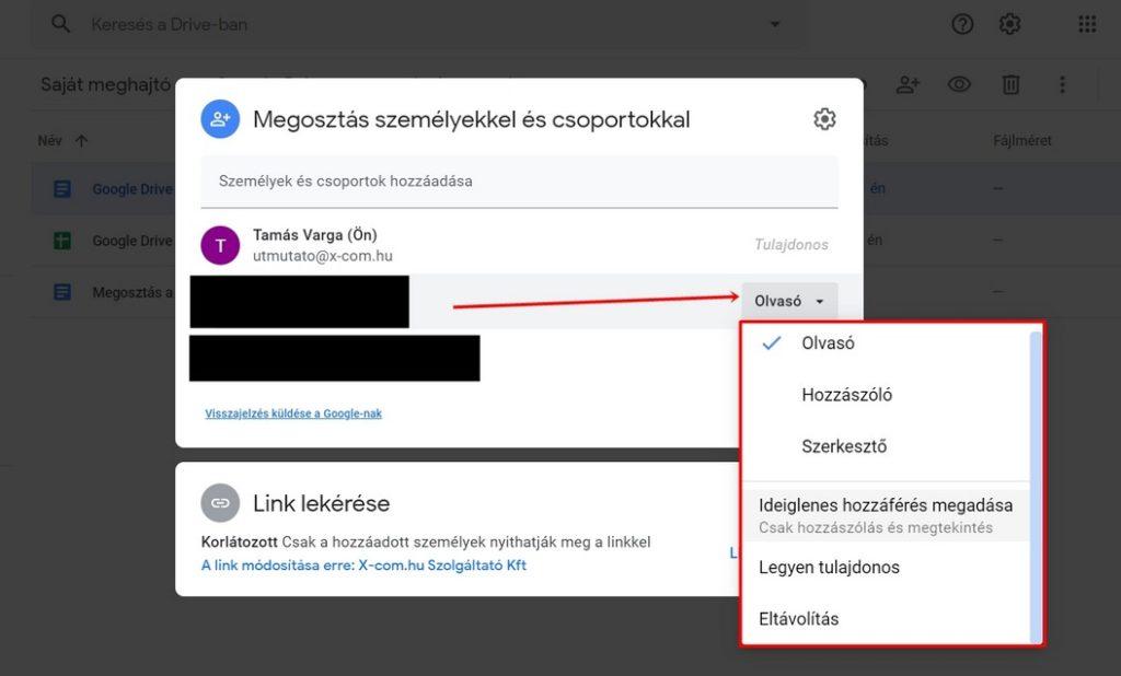 Hozzáférési jogosultság módosítása a Google Drive-on
