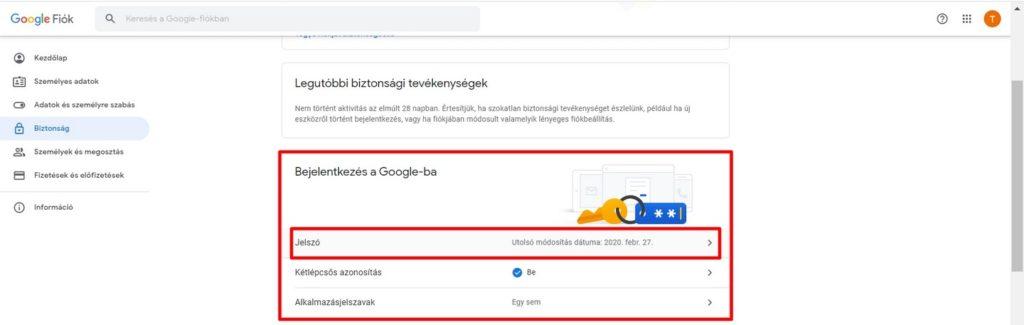 Jelszó megváltoztatás a Google-ban