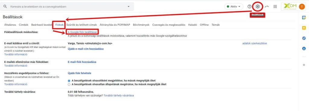 Gmail fiók beállítások elérése