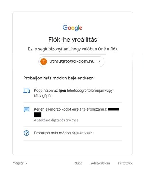 Gmail fiók helyreállítás