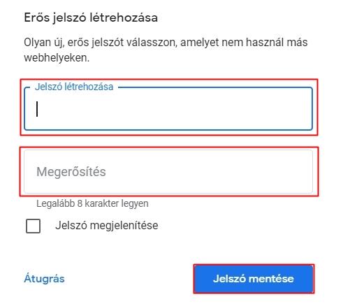 Új Gmail jelszó megadása